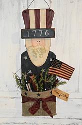 Primitive Americana Uncle Sam with Burlap Pouch