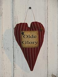 Primitive Americana Olde Glory Heart Peg Hanger