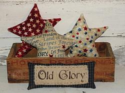 Primitive Americana Flannel Stars with Old Glory Mini Pillow-Bowl Fillers-Shelf sitter