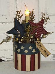 Primitive Round Americana Flag Light With Homepsun Stars-Electric Light