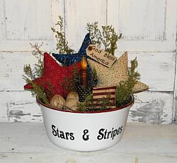 White Granite Red White and Blue Primitive Arrangement with Stars and Grungy Taper Candle - Flag pillow and burlap rag balls