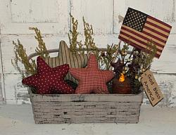Grungy Americana Basket Arrangement with Grungy Flickering Pillar.