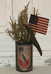 Watermelon Crow and American Flag Graphic Primitive Arrangement