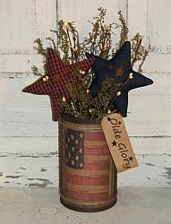 Primitive American Flag Graphic Arrangement with Stars