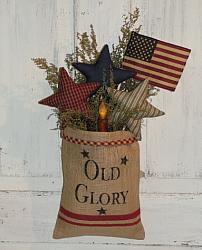 Americana Primitive Burlap Arrangement with Stars-Sweet Annie-American Flag