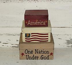 America-One Nation Under God Primitive Stacking boxes, set/3