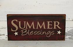 Summer Blessings with Stars Primitive Wood Sign