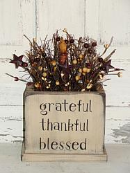 Grateful Thankful Blessed Primitive Wood Box Light Arrangement