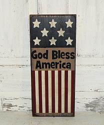 God Bless America Primitive Wood Sign