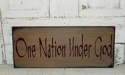 One Nation Under God Primitive Americana Wood Sign