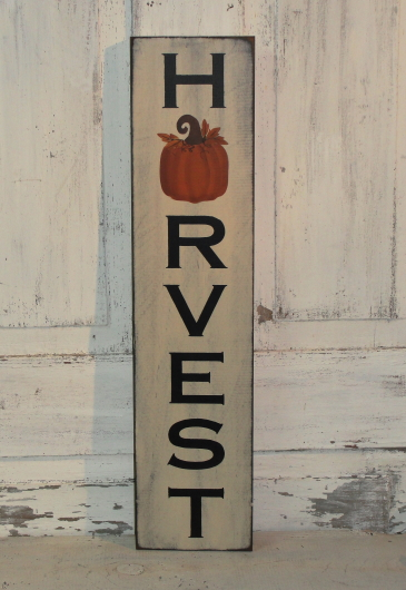 Harvest with Pumpkin Vertical Primitive Wood Sign