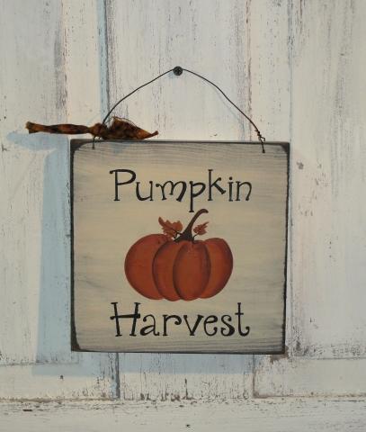Pumpkin Harvest Primitive Wood Sign