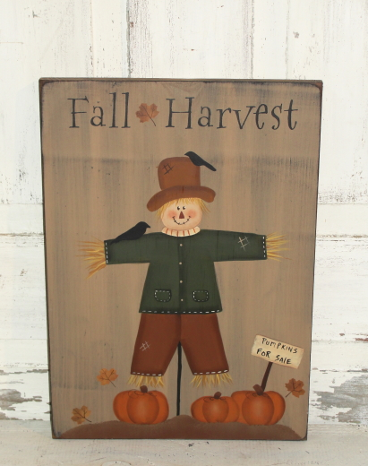 Fall Harvest Hand painted Primitive Wood Sign