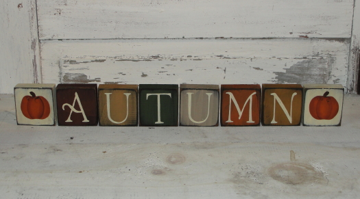 Primitive Autumn Mini Block Set with Pumpkins