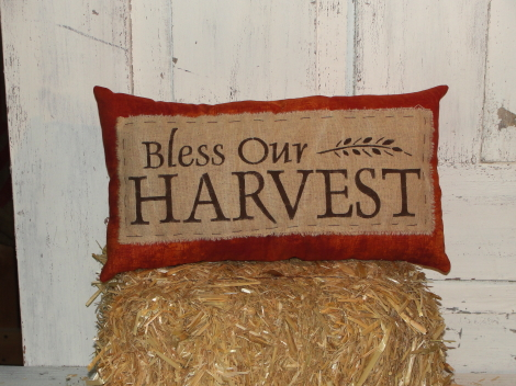 Bless Our Harvest Primitive Accent Pillow
