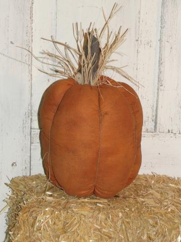 Primitive Pumpkin with Raffia Stem