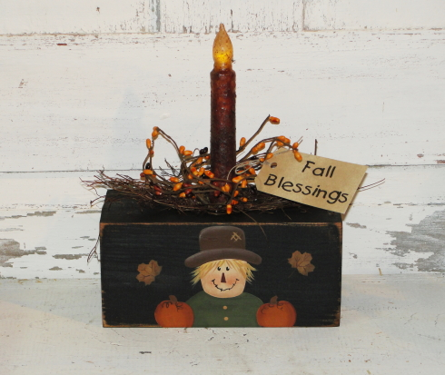 Primitive Fall Scarecrow Autumn Block Light / Light styles optional