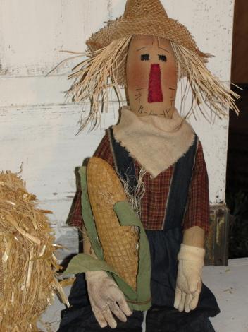 Primitive Fall Sitting Scarecrow with Corn/Jean Bibs