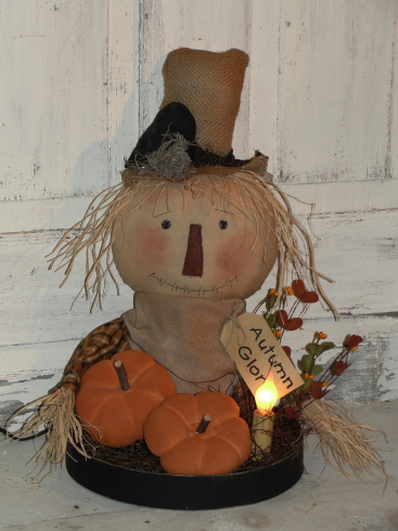 Primitive Scarecrow with Pumpkins and Electric Light