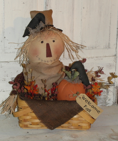 Primitive Scarecrow with Pumpkin and Crows