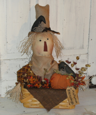 Primitive Scarecrow with Pumpkin Crow and Fall Floral