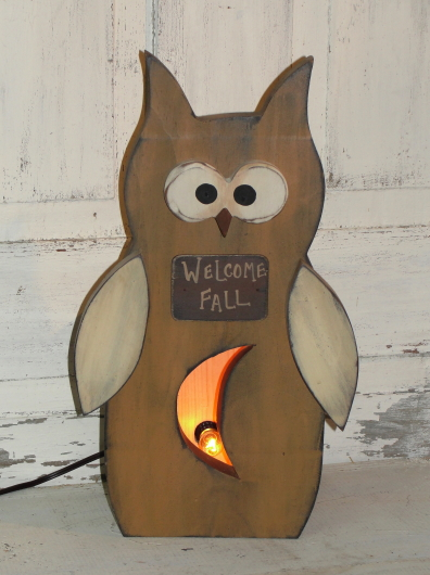 Primitive Wood Owl Box Light