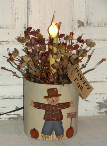 Round Scarecrow Box Arrangement with Electric Light
