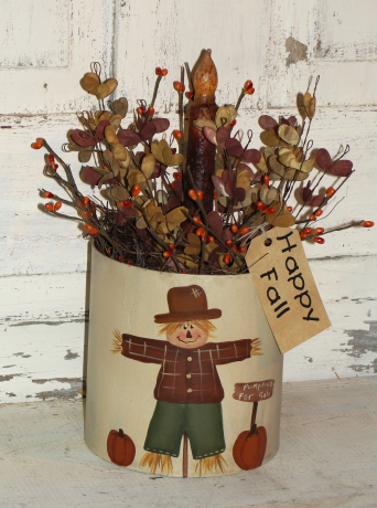 Round Scarecrow Box Arrangement with Grungy Battery Light