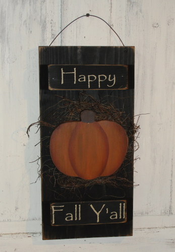 Happy Fall Y'all Shutter Sign with Pumpkin