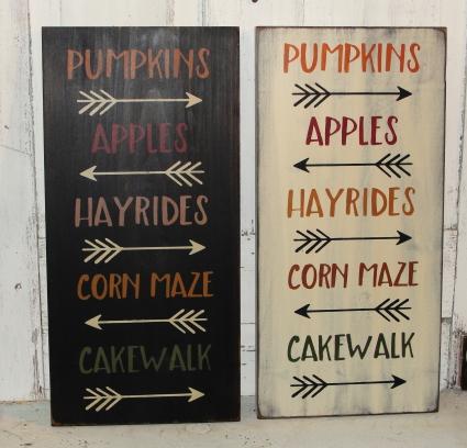 Pumpkins-Apples-Hayrides-Corn Maze-Cakewalk Primitive Wood Fall Sign