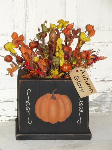 Fall Pumpkin Arrangement with Grungy Taper Light