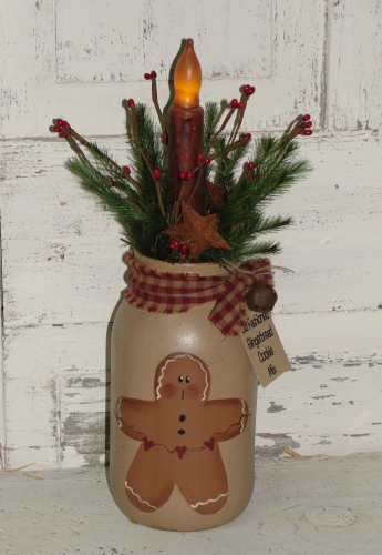 Gingerbread Jar with Grungy Taper Candle and Pine Accents