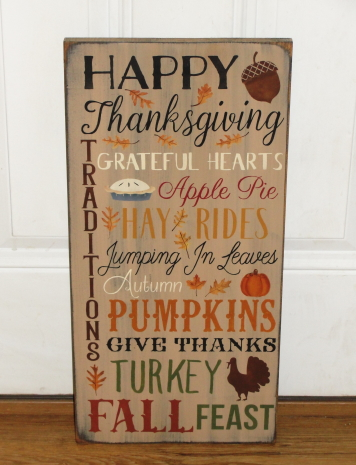 Happy Thanksgiving Primitive Wood Typography Sign
