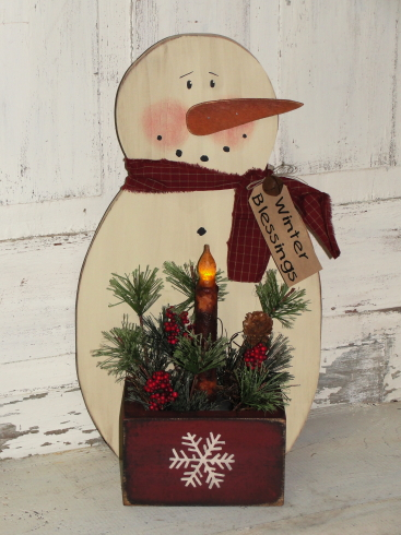 Snowman with Box Pine and Battery Taper Light