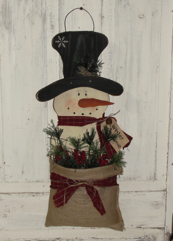 Hanging Wood Snowman with Burlap Pouch