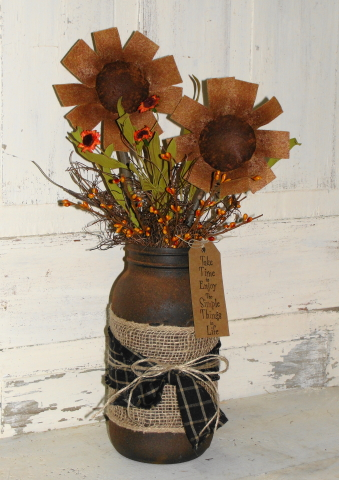 Grungy Sunflowers in Jar
