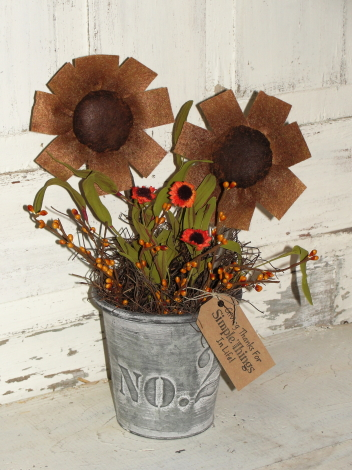 Grungy Sunflowers in Tin