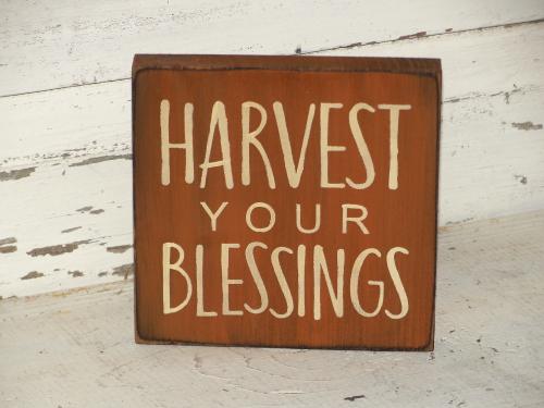 Harvest Your Blessing Primitive Block Sitter