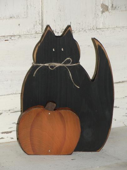 Primitive Black Cat with Pumpkin