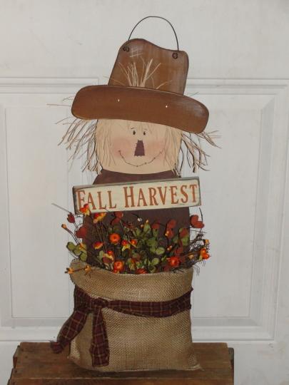 Primitive Wood Hanging Scarecrow