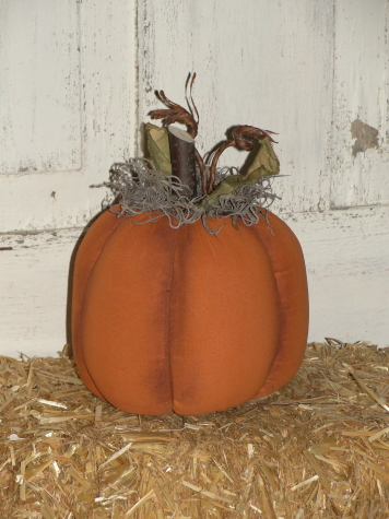 Primitive Painted Pumpkin with With Wood Stem and Grungy Leaves