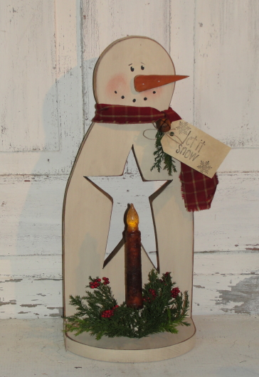 Primitive Snowman with Cutout Star and Grungy Battery Taper