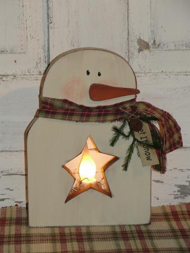 Star Cutout Snowman Light