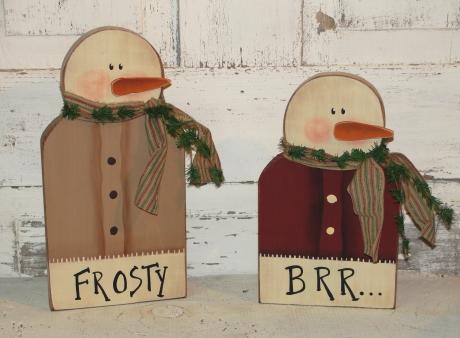 Frosty and Brr...Snowman Shelf Sitters-Set/2