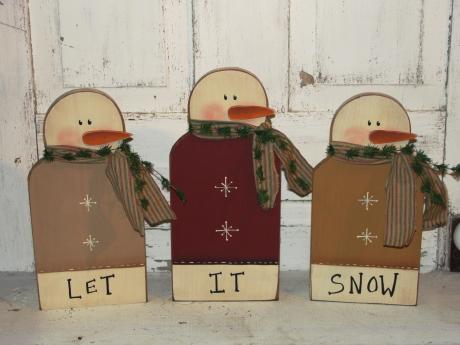 Snowman Set / 3 with Let It Snow