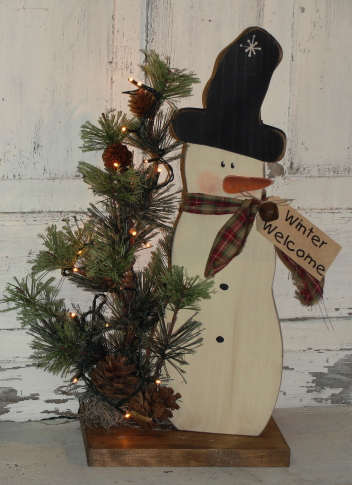 Snowman with Pine and  Electric Light Strand