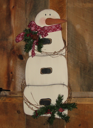 Hanging Primitive Wood Snowman with Pine And Grapevine Accents