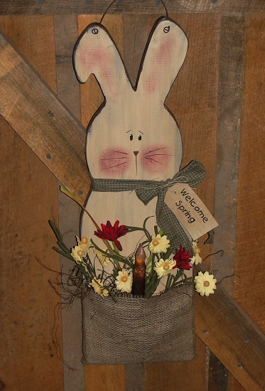 Primitive Bunny with Burlap and Floral