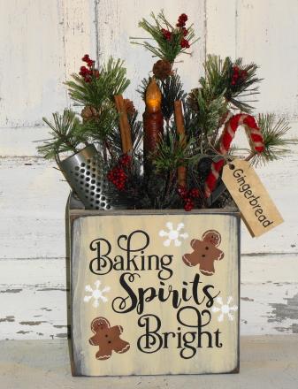 Baking Spirits Bright Primitive Gingerbread Box Pine Arrangement