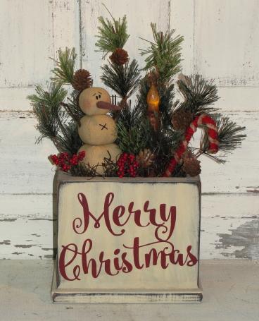 Merry Christmas Box Arrangement with Snowman